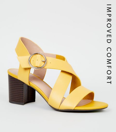 ... Yellow Leather-Look Cross Strap Block Heels ... c9fc803f43f