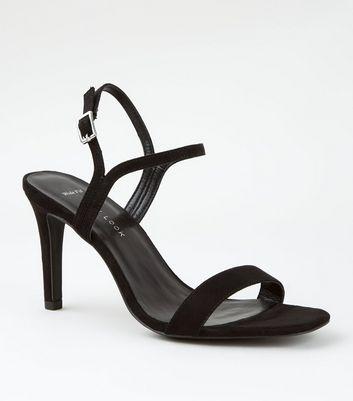 Wide Fit Black Suedette Mid Heel