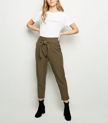 Petite Khaki Tie Waist Tapered Trousers by New Look