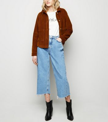 Blue Raw Hem High Waist Wide Leg Jeans