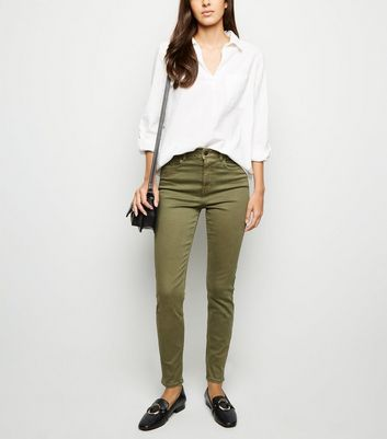 Khaki High Waist 'Lift & Shape' Skinny Jeans