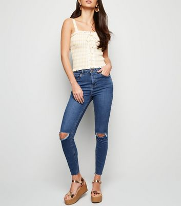 Blue Mid Wash 'Lift & Shape' Ripped Skinny Jeans