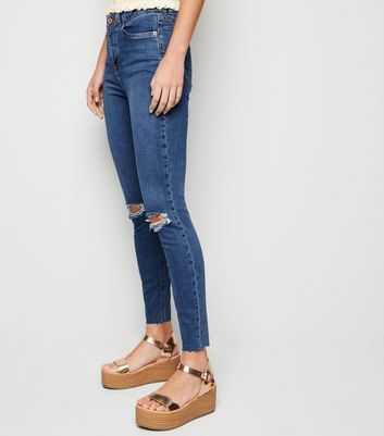 shop for Blue Mid Wash 'Lift & Shape' Ripped Jenna Skinny Jeans New Look at Shopo
