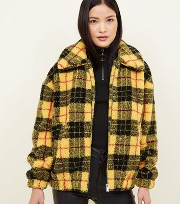 Yellow Check Borg Jacket
