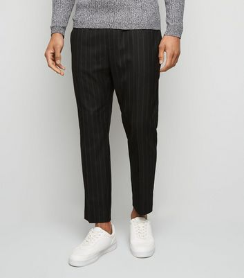 Black Pinstripe Twin Stitch Slim Crop Trousers