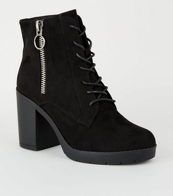 Wide Fit Black Ring Zip Lace Up Heeled Boots