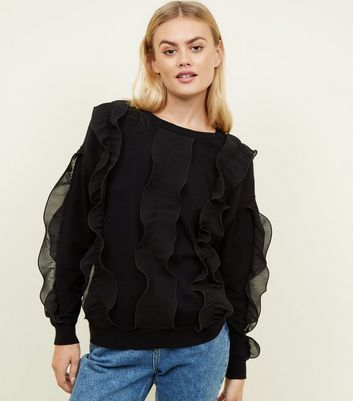 Cameo Rose Black Frill Sleeve Jumper