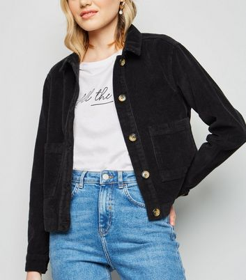 Black Patch Pocket Corduroy Jacket