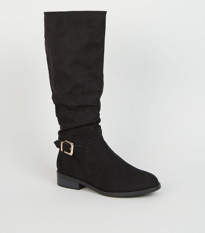 e9267eea708 Wide Fit Black Buckle Side Slouch Knee High Boots