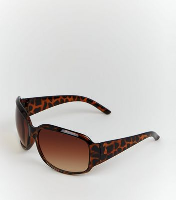 Dark Brown Faux Tortoiseshell Rectangle Sunglasses