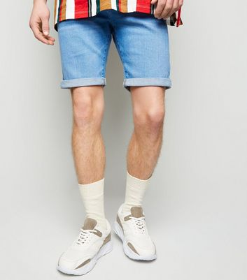 Blue Roll Hem Skinny Denim Shorts
