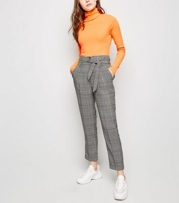 Black Check Tie Waist Trousers
