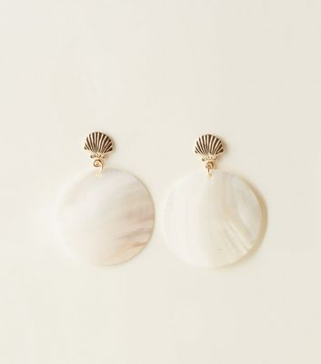 White Shell Disc Drop Earrings
