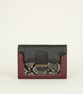 Burgundy Faux Snake Panel Purse