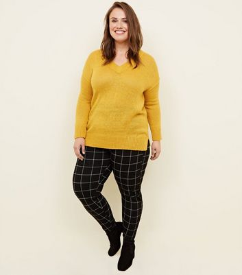 Curves Black Grid Check Leggings