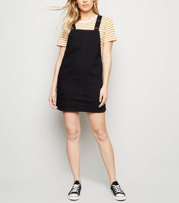 Black Buckle Denim Pinafore Dress