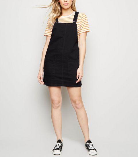Black Buckle Denim Pinafore Dress New Look