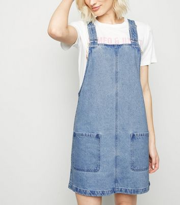 Light Blue Buckle Denim Pinafore Dress