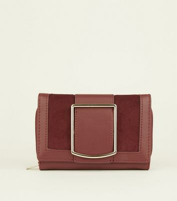 Burgundy Square Buckle Midi Purse
