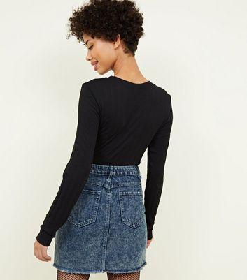 Brave Soul Blue Acid Wash Denim Skirt New Look