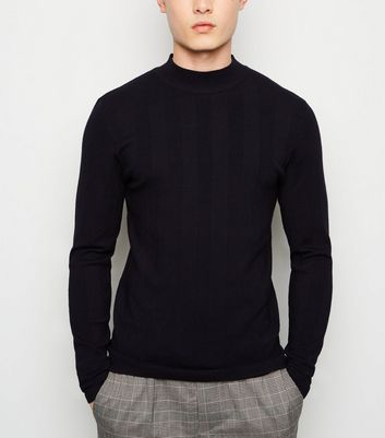Navy Ribbed Knit Muscle Fit Jumper