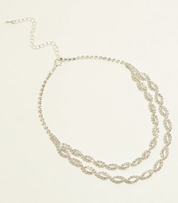 Silver Premium Diamanté Double Layer Choker Necklace