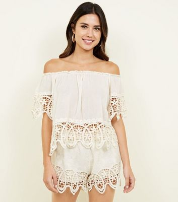 Cameo Rose Cream Crochet Trim Bardot Top