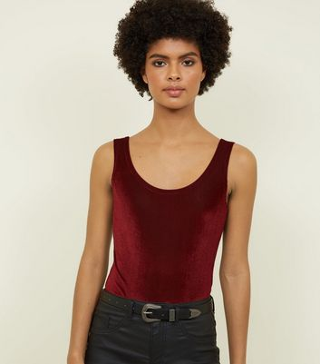 Carpe Diem Burgundy Ribbed Velvet Bodysuit