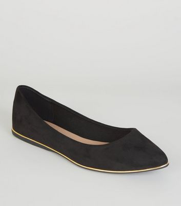 Wide Fit Black Metal Trim Pointed Pumps