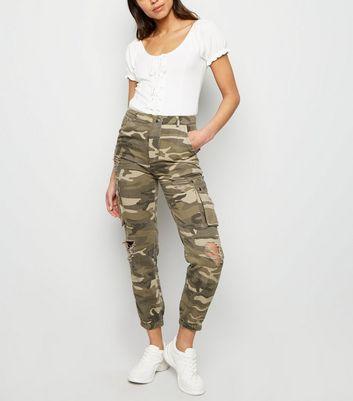 if she Mozzaar Damen Hose Camouflage Tarn Muster Stretch