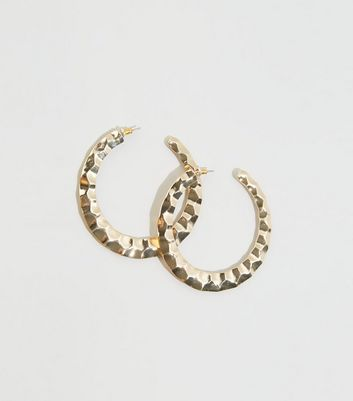 Gold Hammered Oversized Hoop Earrings