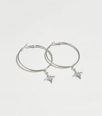 Silver Star Drop Hoop Earrings