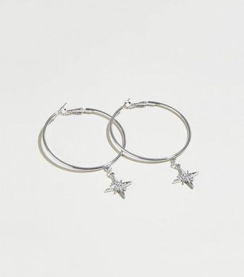 Silver Star Drop Hoop Earrings by New Look