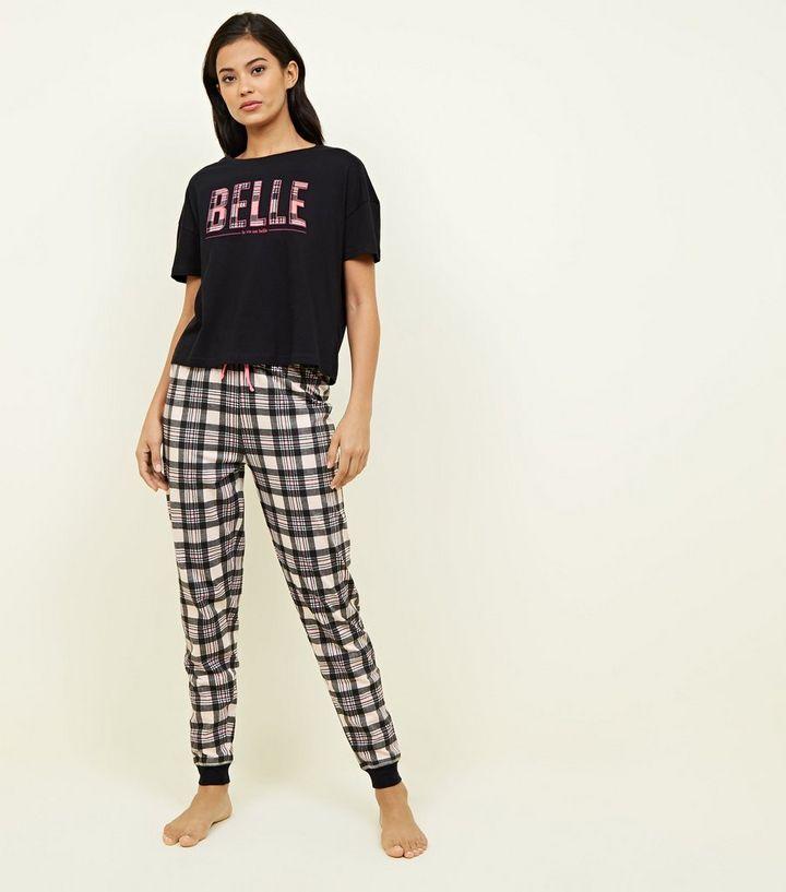 b39342d92 Pink Check Belle Slogan Pyjama Set