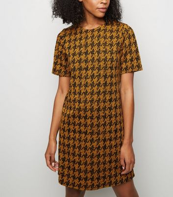 Mustard Houndstooth Jacquard Tunic Dress