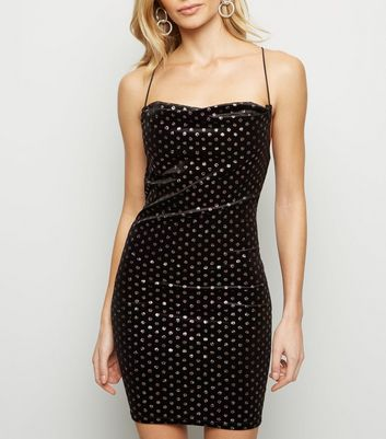 Black Glitter Spot Velvet Mini Dress
