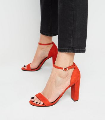 Wide Fit Orange Two Part Block Heels