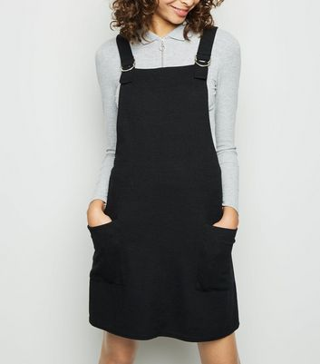 Black Cross Hatch D-Ring Strap Pinafore Dress