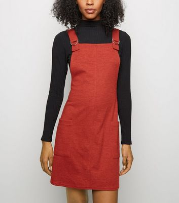 Rust Cross Hatch D-Ring Strap Pinafore Dress