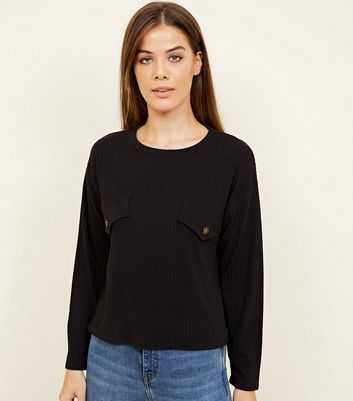 Black Ribbed Button Front Long Sleeve T-Shirt