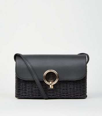Black Straw Effect Cross Body Bag
