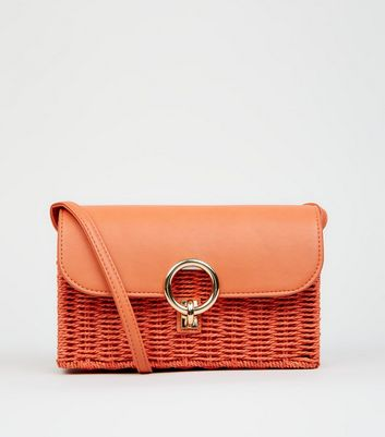 Bright Orange Straw Effect Cross Body Bag