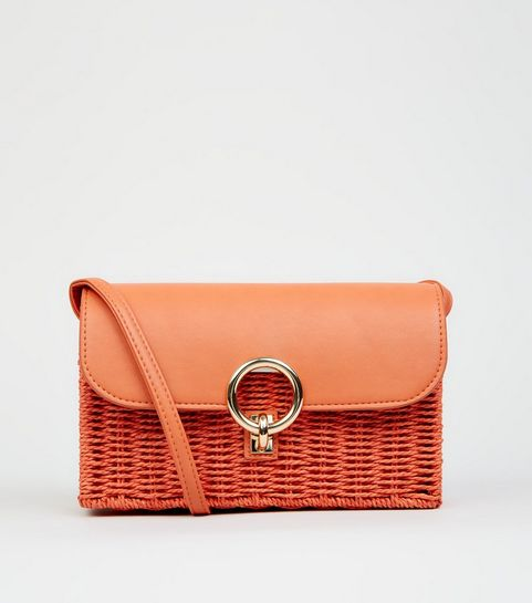 435579d254 ... Bright Orange Straw Effect Cross Body Bag ...
