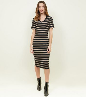 Black Stripe Polo Midi Dress