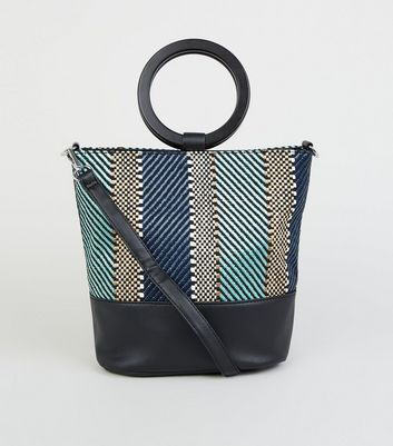 Black Woven Front Ring Handle Bucket Bag