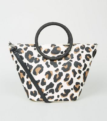 Brown Leopard Print Woven Straw Effect Handle Bag