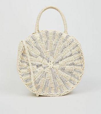 Silver Round Straw Effect Woven Cross Body Bag
