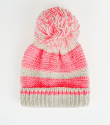 Pink Neon Space Dye Bobble Hat