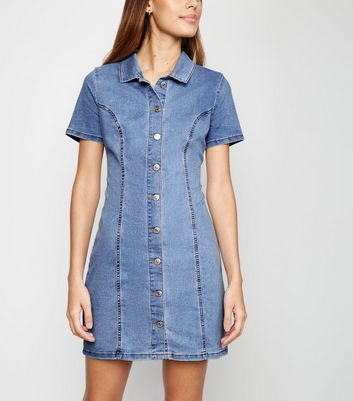 Bright Blue Button Front Denim Mini Dress