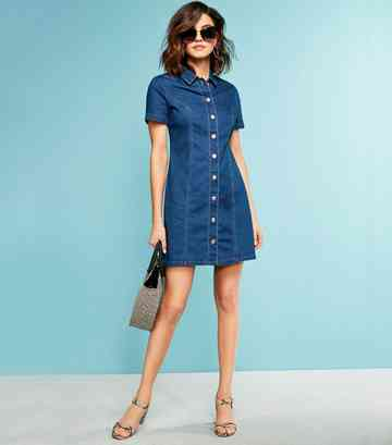 Blue Button Front Denim Mini Dress